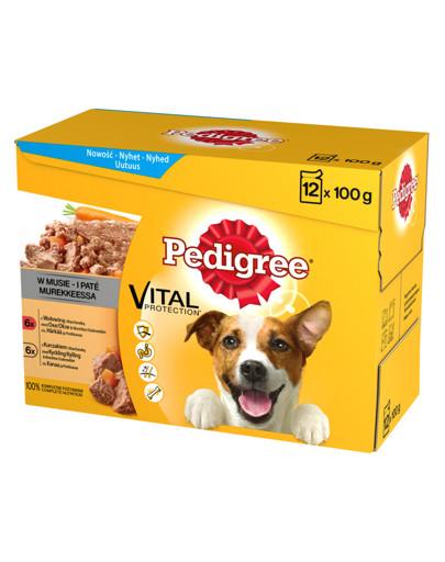 Adult saszetka 12x100g - mokra karma dla psów w musie (z wołowiną i marchewką, z kurczakiem i marchewką)