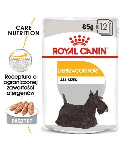 Dermacomfort karma mokra - pasztet dla psów dorosłych o wrażliwej skórze, skłonnej do podrażnień 12 x 85 g