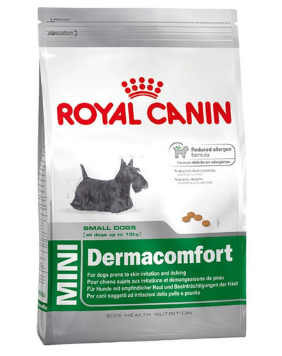 Mini Dermacomfort karma sucha dla psów dorosłych, ras małych, o wrażliwej skórze, skłonnej do podrażnień 800 g