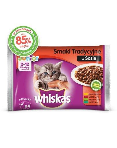 Junior Smaki Tradycyjne saszetka 52x100g – mokra karma dla kotów w sosie (z kurczakiem, z wołowiną, z jagnięciną, z królikiem)