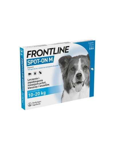 FRONTLINE Spot-on przeciw kleszczom i pchłom dla średnich psów M psy 10-20 kg 3 pipetki
