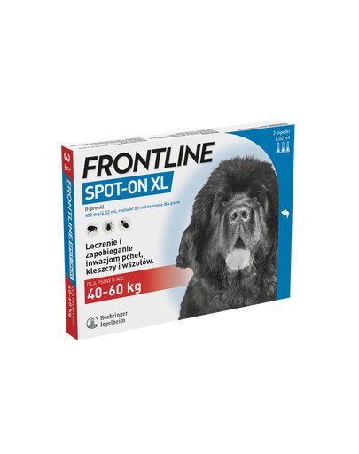 FRONTLINE Spot-on przeciw kleszczom i pchłom dla psów bardzo dużych XL psy 40-60 kg 3 pipetki