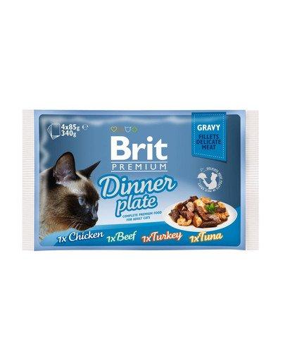 Premium Cat pouch gravy fillet Dinner plate Saszetki w sosie dla kotów, mix smaków 340 g (4x85 g)