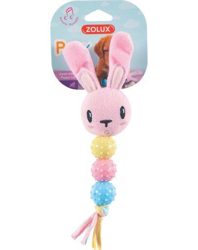 Zabawka pluszowa dla szczeniaka królik grzechotka, z dźwiękiem różowa