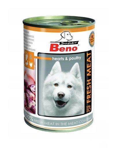 Super BENO Meat drób z sercami mokra karma dla dorosłych psów 400 g